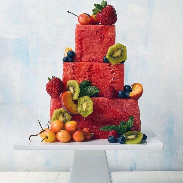 Watermelon Fruit Red Unique Wedding Cakes