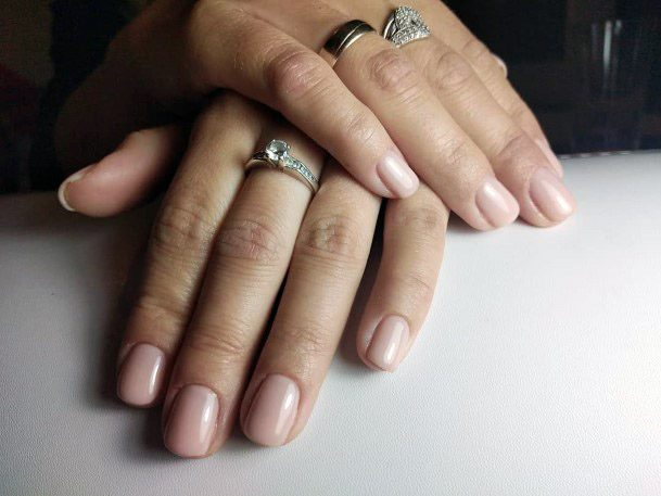 Watery And Pale Short Nails Women