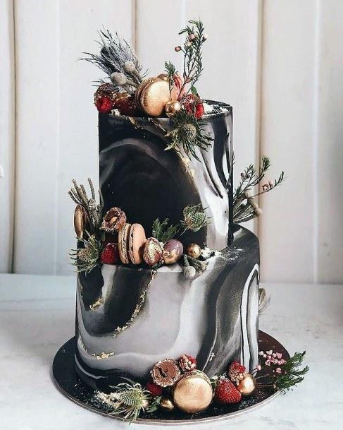 Wavy Black And Grey Designs On Elegant Wedding Cake Women