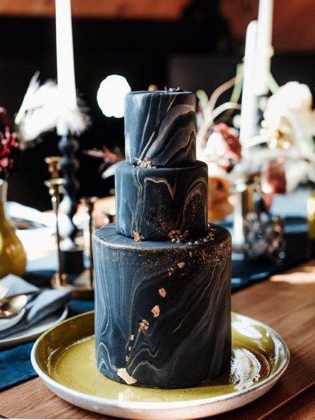 Wavy Black Marble 3 Tier Wedding Womens Cake