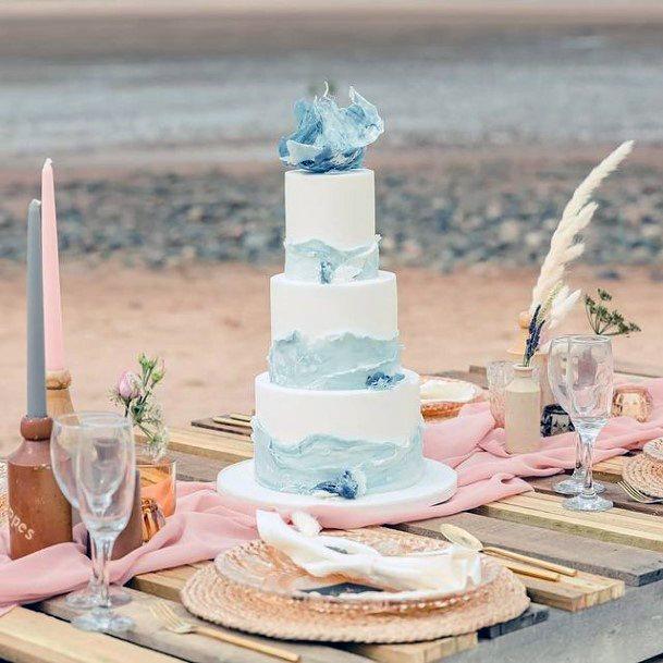 Wavy Blue Elegant Wedding Cake Women