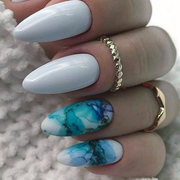 Wavy Blue Water And White Almond Nails Womens Art
