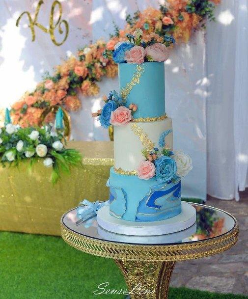Wavy Blue Wedding Cake