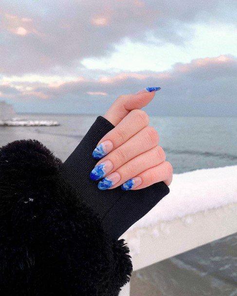 Wavy Water Blue Nails Women