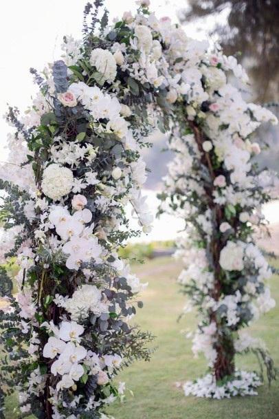 Wedding Arch With White Hydrangea Flowers