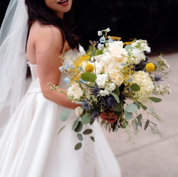 Wedding Bouquet With White And Yellow Flowers