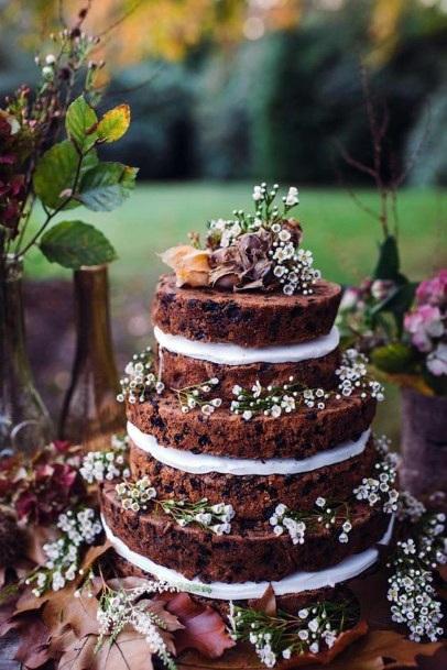 Wedding Cake Ideas Bohemian Nature Naked Cake With Soft White Flowers