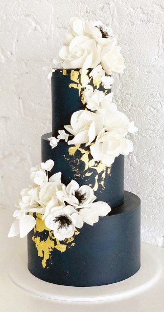 Wedding Cake Ideas Bold And Beautiful Navy Blue With White Florals