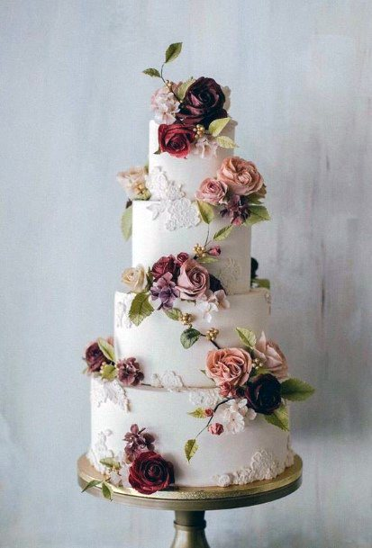 Wedding Cake Ideas Elegant White With Red And Blush Roses