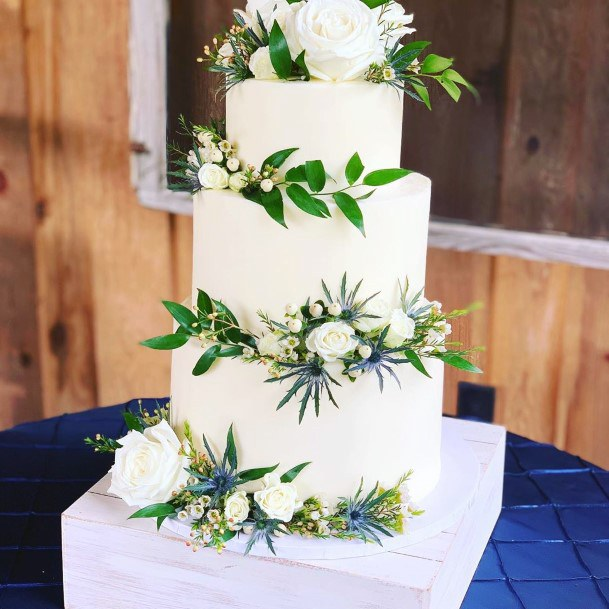 Wedding Cake Ideas Greenery With White And Blue Flowers On White Design
