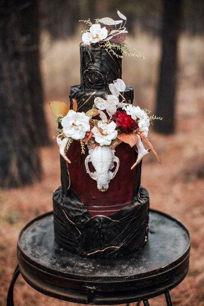 Wedding Cake Ideas Halloween Inspired Black With Animal Skull