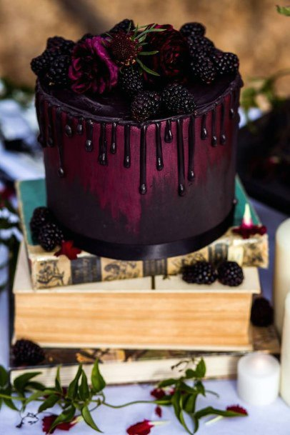 Wedding Cake Ideas Luscious Dark Burgundy With Drizzled Icing Moody Inspiration