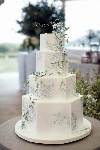 Wedding Cake Ideas Minimalist Hexagon Tiers With Simple Greenery