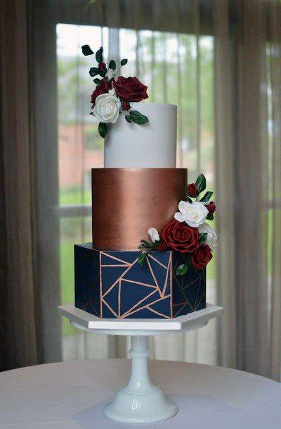 Wedding Cake Ideas Modern Geometric White Gold And Navy Blue Inspiration