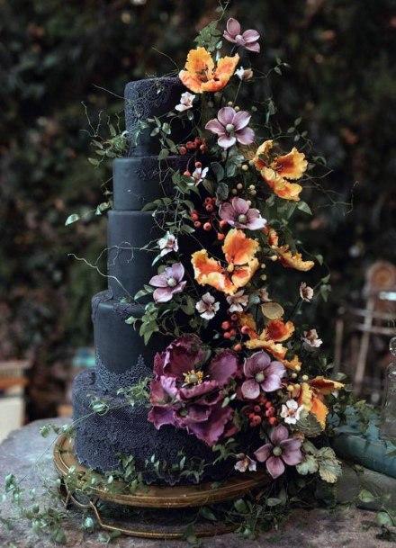 Wedding Cake Ideas Moody Black With Dark Purple And Orange Floral