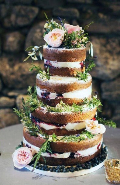 Wedding Cake Ideas Naked Cake With Berry And Cream Filling