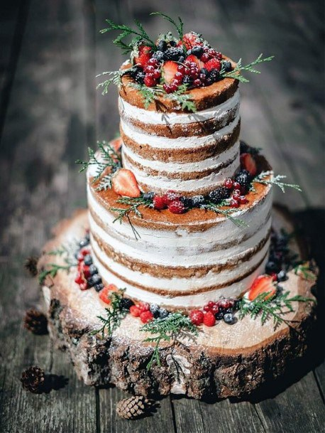 Wedding Cake Ideas Naked Vanilla With Fresh Berries And Greenery Inspiration