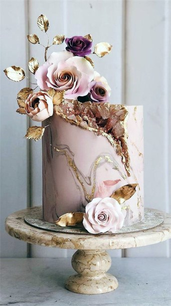 Wedding Cake Ideas Pink And Gold Geode Design