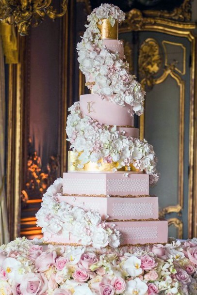 Wedding Cake Ideas Romantic Pink Gold And White Hexagon Tiered Cake With White Roses