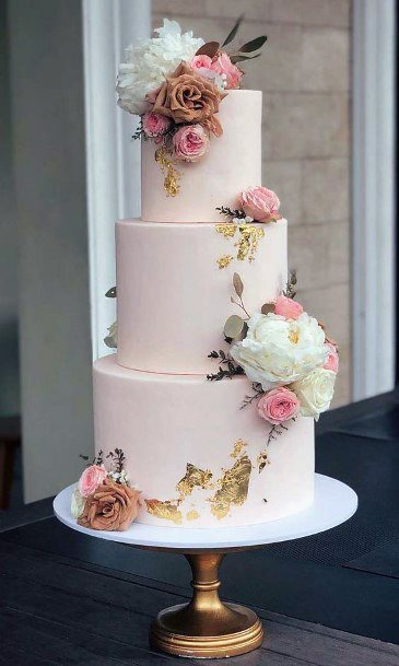 Wedding Cake Ideas Romantic Pink Tiered With Gold Leafing And White And Pink Flowers