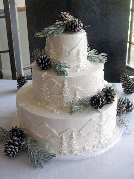 Wedding Cake Ideas Rustic Mountain And Forest Icing Design With Real Pine Cones