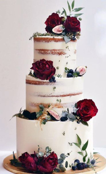 Wedding Cake Ideas Rustic Semi Naked Tiered Cake With Red Roses