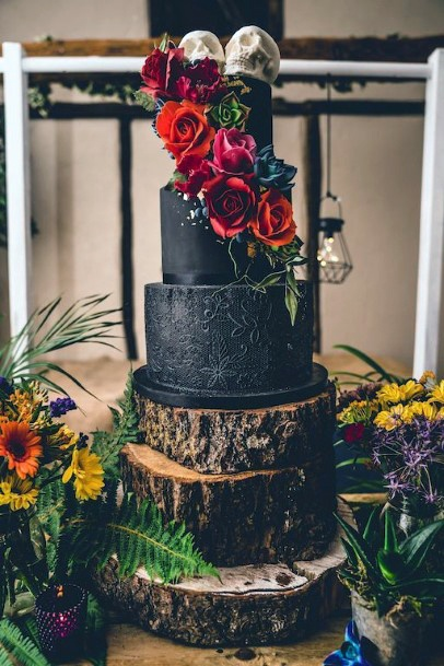 Wedding Cake Ideas Rustic Woodland Tree Design With Natural Flowers