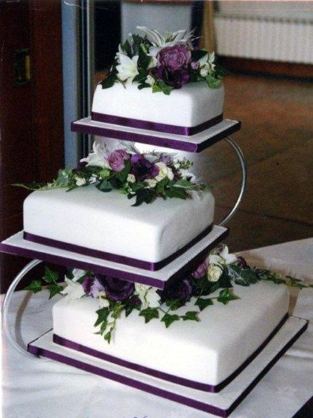 Wedding Cake Ideas Separated Tieres Square White With Dark Purple Design