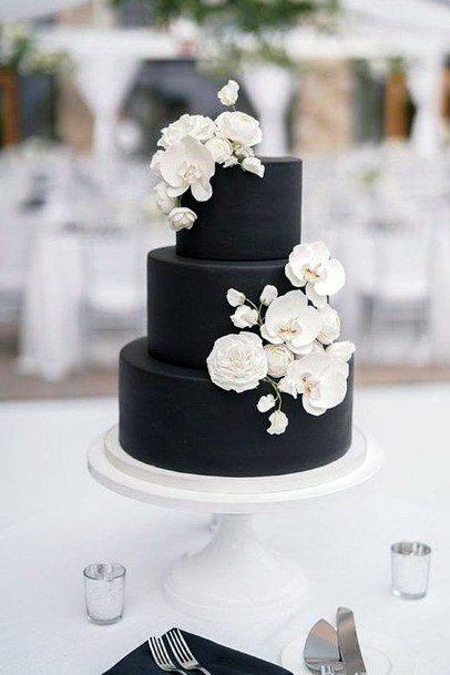 Wedding Cake Ideas Simple Black Fondant With White Roses Design