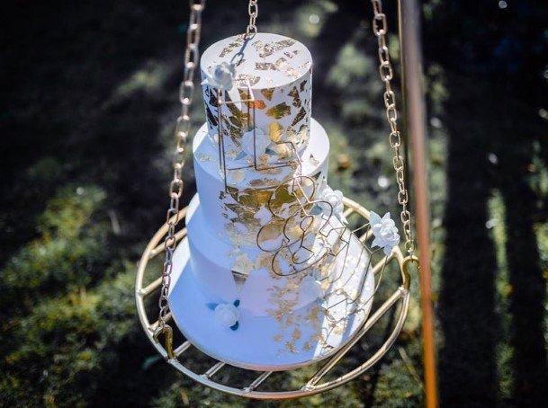 Wedding Cake Ideas Sophisticated Gold Leafing Design