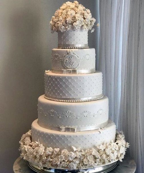 Wedding Cake Ideas Traditional White And Silver With Icing Decor And White Flowers