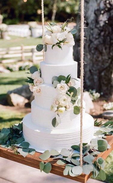 Wedding Cake Ideas Traditional White With Silver Dollar And White Flowers