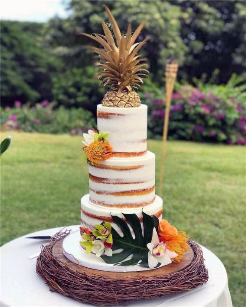 Wedding Cake Ideas Tropical Design Semi Naked With Pineapple Topper And Tropical Flowers