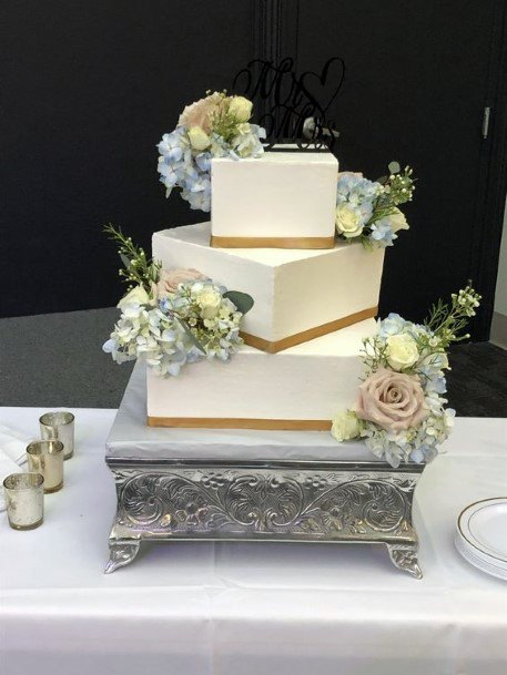 Wedding Cake Ideas Vintage Stand With Modern Square Tiered Cake Inspiration