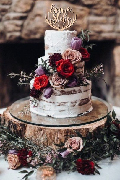 Wedding Cake Ideas Wood Slab Stand With Semi Naked Icing And Cascading Dark Florals
