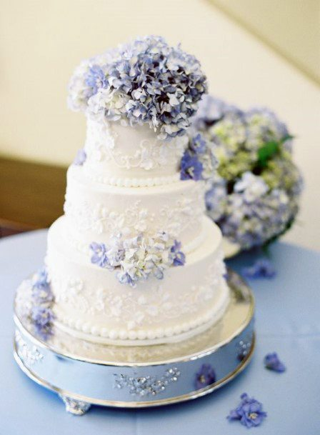 Wedding Cake With Blue Hydrangea Flowers