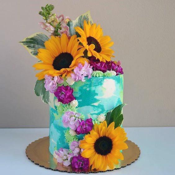 Wedding Cake Womens Eye Catching Sunflower