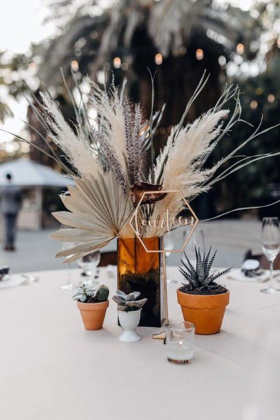 Wedding Centerpiece Ideas Bohemian Dried Grasses And Succulents