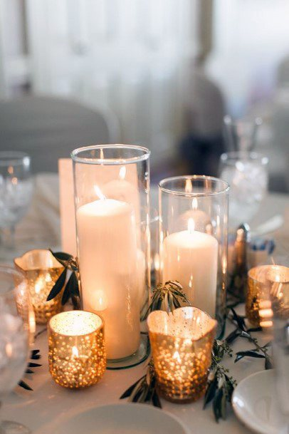Wedding Centerpiece Ideas Different Size Candles And Gold