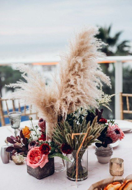 Wedding Centerpiece Ideas Dried Grasses And Exotic Pink Flowers Bohemian