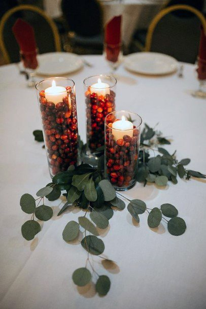 Wedding Centerpiece Ideas Fall Inspired Cranberry Filled Jars And Greenery