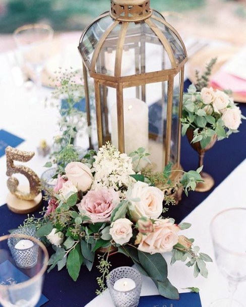 Wedding Centerpiece Ideas Gold Lantern With Candle