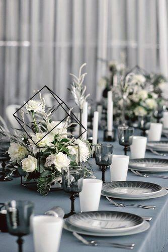 Wedding Centerpiece Ideas Modern Black Geometric Vases