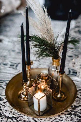 Wedding Centerpiece Ideas Moody Black Candles And Gold