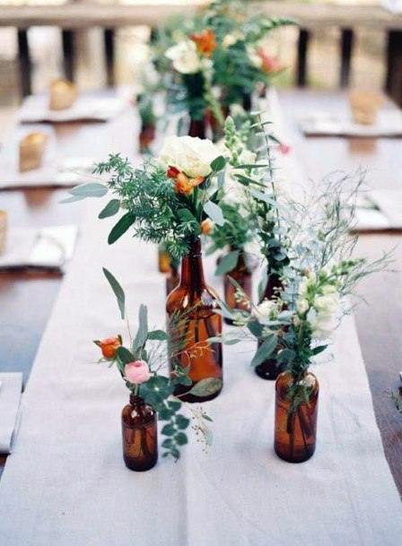 Wedding Centerpiece Ideas Vintage Glass With Beautiful Greenery And Flowers