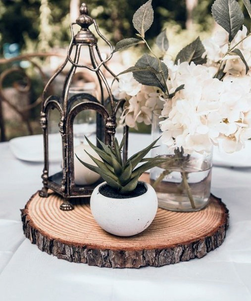 Wedding Centerpiece Ideas Woodsy Standy With Elegant Lantern=and Single Succulent