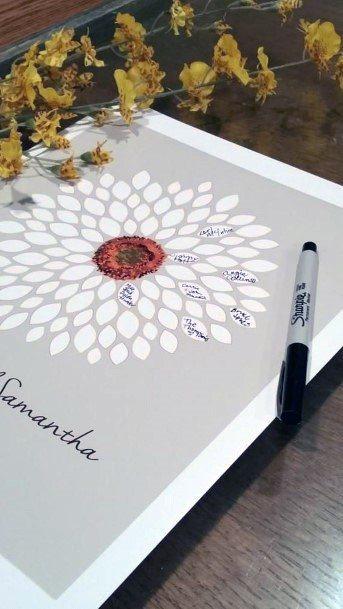 Wedding Guest Book Ideas Flower Pedal Design