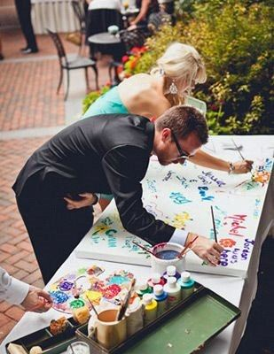 Wedding Guest Book Ideas Fun Paint On Canvas