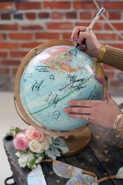Wedding Guest Book Ideas Globe World Travel Inspiration