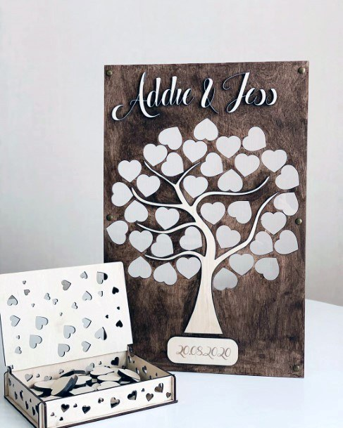 Wedding Guest Book Ideas Heart Shaped Family Tree Pieces
